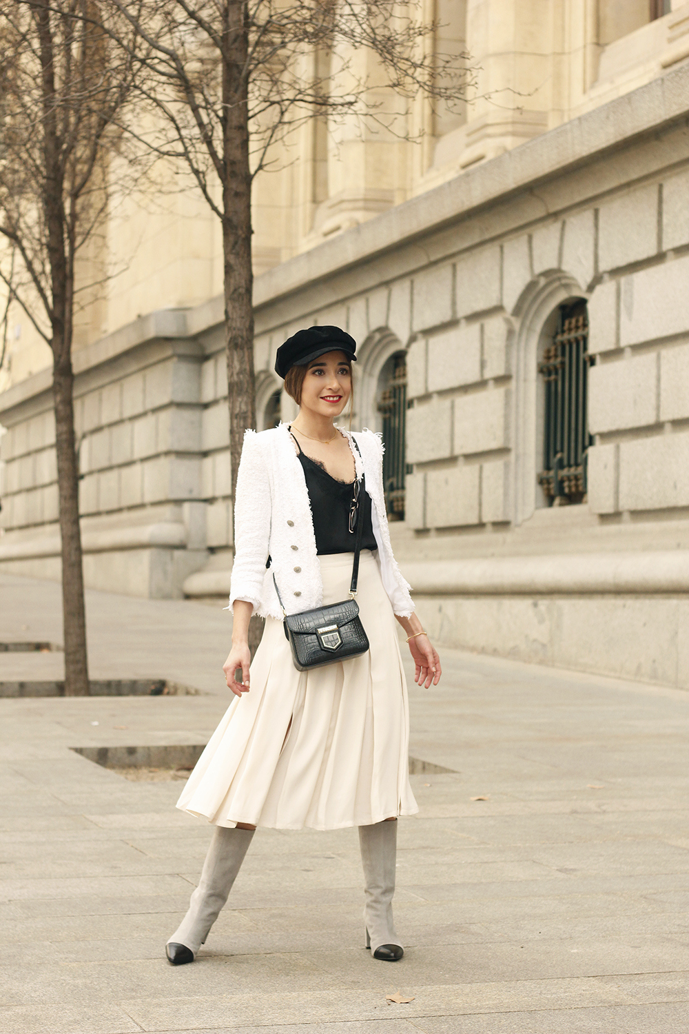 midi blush skirt white tweed jacket givenchy bicolor uterqüe boots winter outfit06