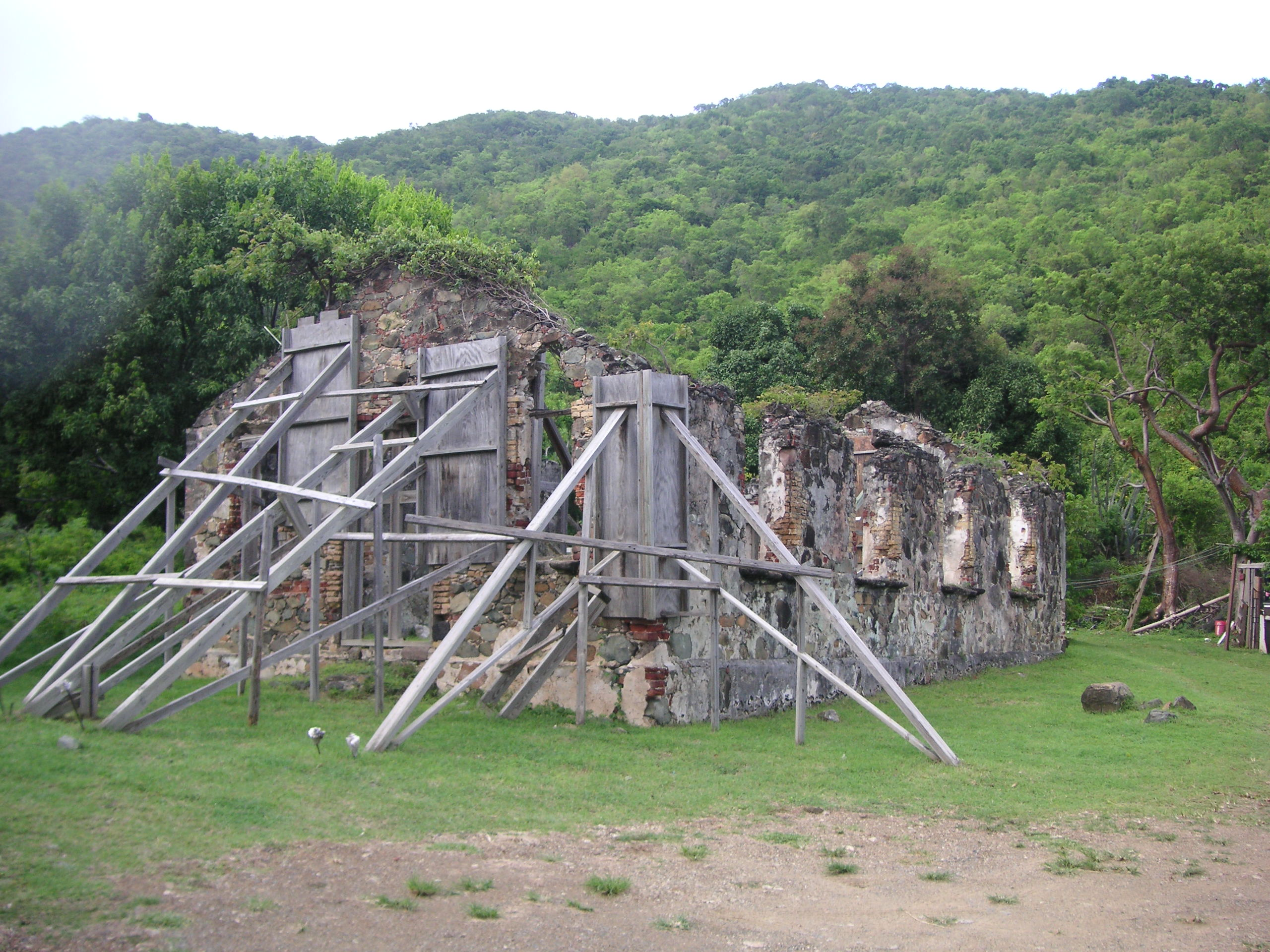 St Phillip's Church, Kingston, Tortola, British Virgin Island, one of the most important historical ruins in the territory.. Photograph taken by Colin Riegels, August 8, 2006.