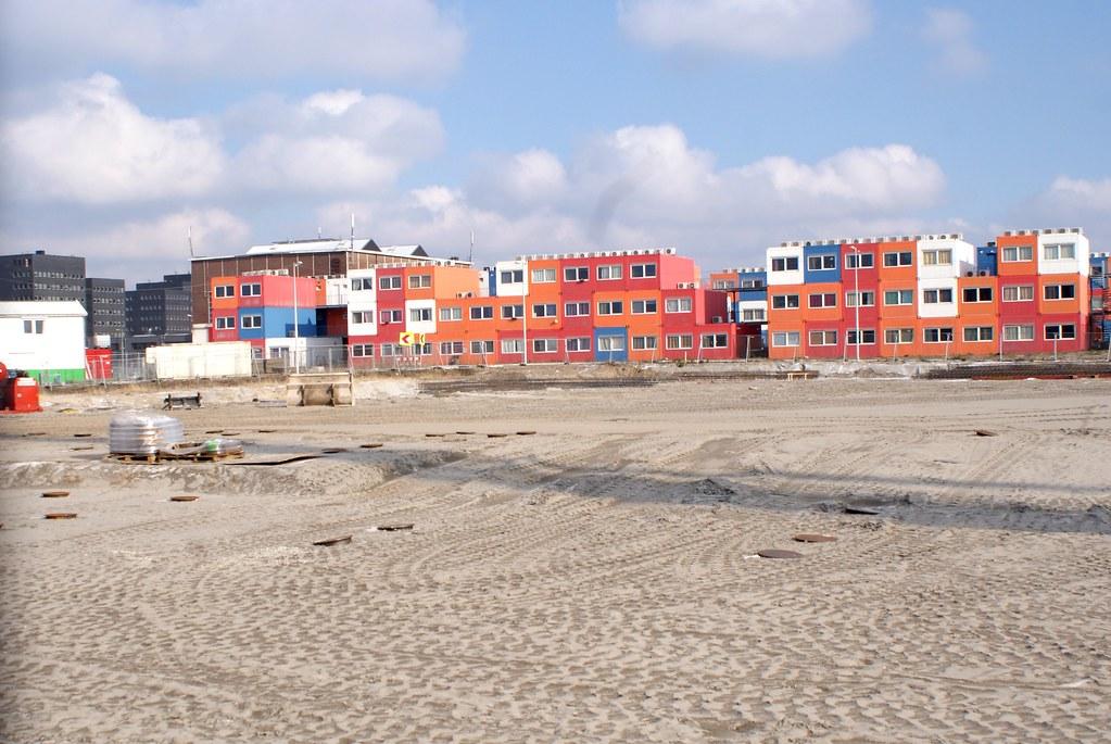 Résidence étudiante en containers dans le quartier du nord-NDSM à Amsterdam.