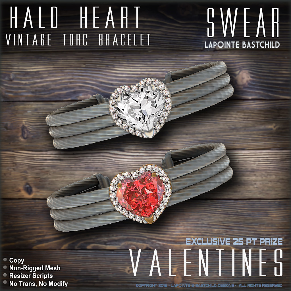 The Epiphany Exclusive – L&B Vintage Halo Heart Torc Bracelets