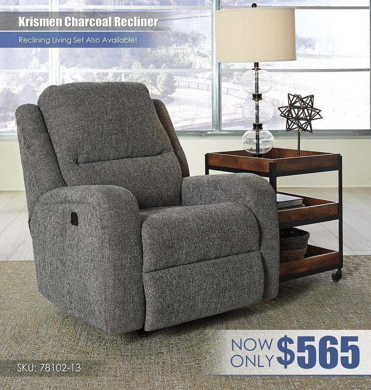 Krismen Charcoal Recliner_78102-13