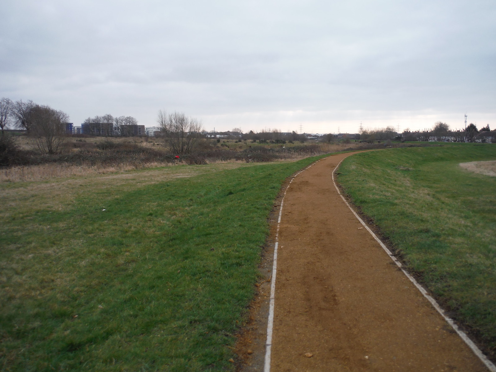 Path along Flood Containment Bank by the Wantz Stream SWC Short Walk 33 - Dagenham Parks, Rivers and Ponds