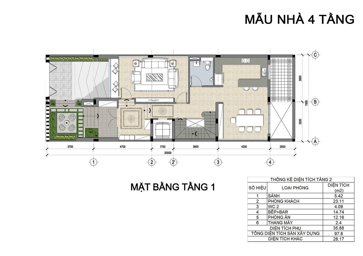 Mặt bằng tầng 1 biệt thự 4 tầng thuộc các lô LK3, LK4, LK5 biệt thự Hưng Phát Green Star.