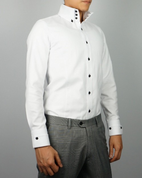 Details about 2 New Styles Mens Slim Fit White High Stand Collar 3 Button  Down Dress Shirt 7d18e504a217