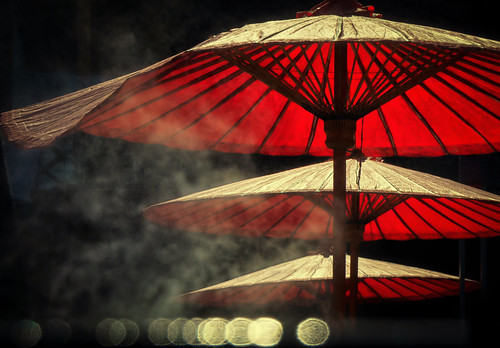 umbrellas chinatown bangkokthailand lhong1919 backlight bokeh incense smoke haze mist chinsese chineseheritage chinesehistory red southeastasia asian thai siam urban minimalism abstract cityscape patterns repetition hazy smoky atmosphere moody mysterious nikond5100 tamron18270 photoshopbyfehlfarben thanksbinexo parasols