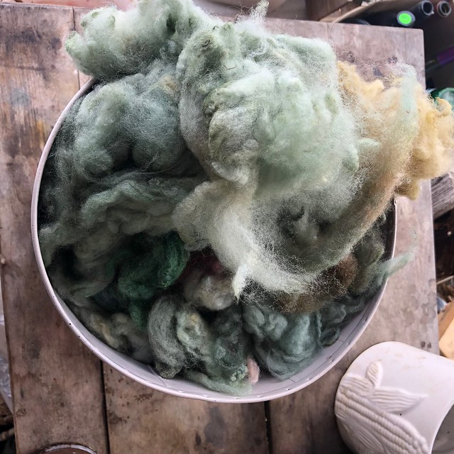 Mostly fleece dyed with natural dye