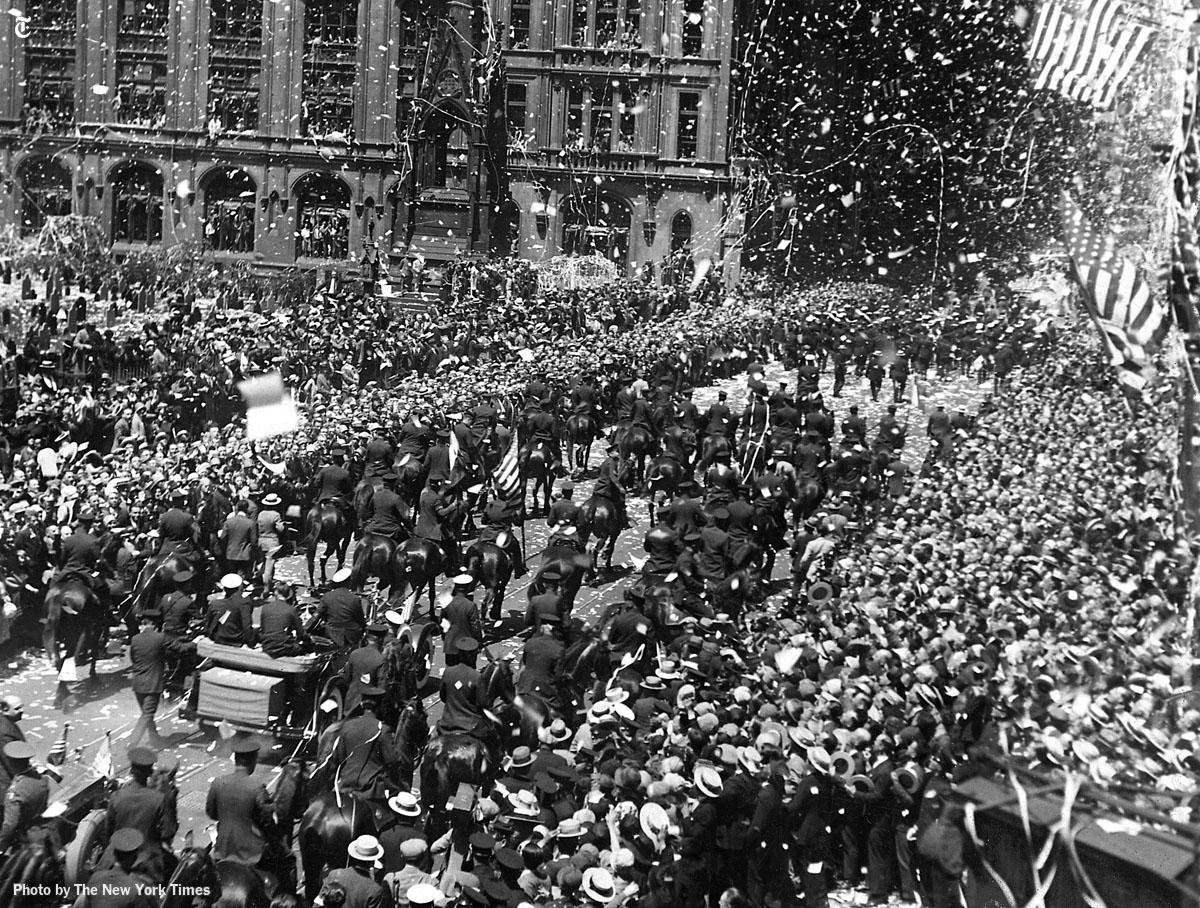Charles Lindbergh's tickertape parade in New York City, June 13, 1927.