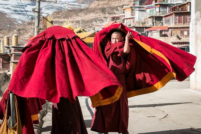 Monks just throwing their coats, Kandze Monastery, Garzê 甘孜 カンゼゴンパ コートを格好良く羽織る僧たち