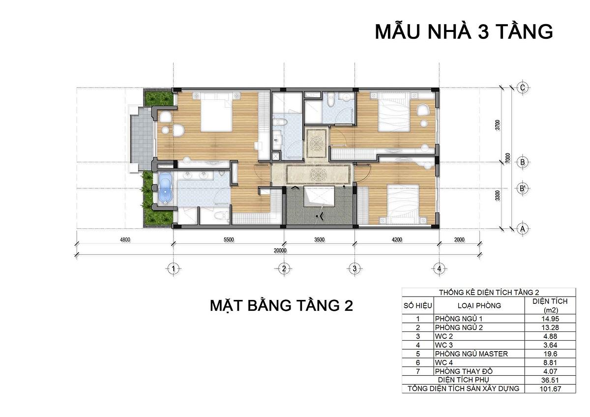 Mặt bằng tầng 2 biệt thự 3 tầng thuộc các lô LK1, LK2, LK6 biệt thự Hưng Phát Green Star q7.