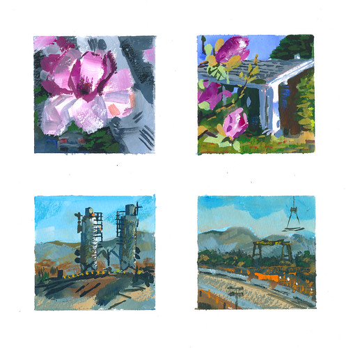 Sketchbook #112: Spring in California - Magnolias and Google Construction Site.