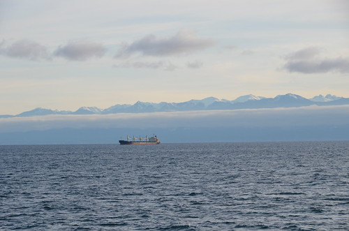 Port Angelis - ship with Olympic Mountains