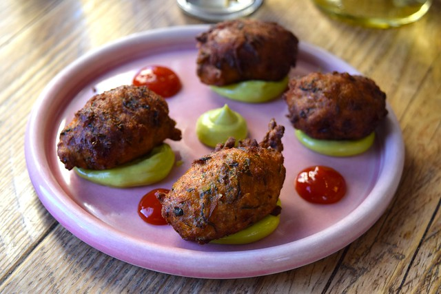 Courgette and Cornmeal Beignets with Herb Mayo and Chilli Jam at Chicama, Chelsea