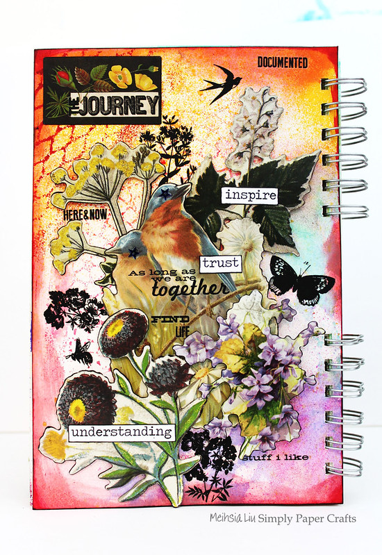 Meihsia Liu Simply Paper Crafts mixed media art journal Birds of Feather Simon Says Stamp Tim Holtz 3