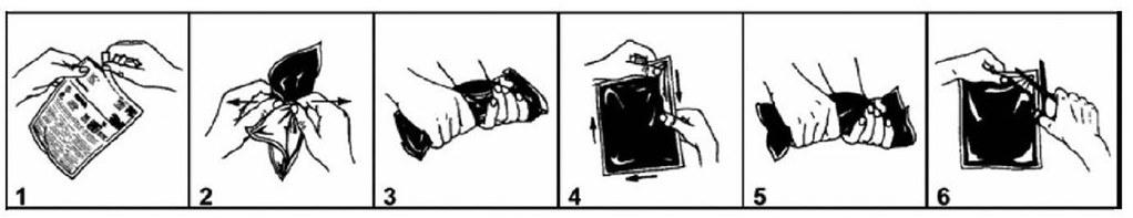 Технология применения компаунда 3М Scotchcast 2131 1. Извлеките из упаковки двухкомпонентный пакет с компаундом. 2. удалите разделительную мембра- ну. 3. Перемешайте компоненты компаунда внутри пакета в течение 30 секунд. 4. Выдавите остатки компонентов из углов пакета. 5. Продолжайте смешивание компонентов компаунда внутри пакета в течение 30 секунд до образования однородной массы. 6. Сделайте отрез в углу пакета и вылейте его содержимое на специально подготовленную поверхность конвейерного полотна