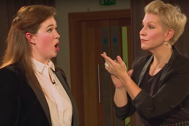 Polly Leech and Joyce DiDonato during a livestreamed Masterclass as part of the Royal Opera House's Insights programme, 2018
