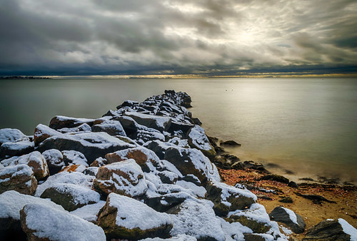 chapmanbeach christmas christmasmorning connecticut hdr longislandsound nikon nikond5300 westbrook beach clouds geotagged jetty light longexposure ocean rock rocks sand sky snow water winter unitedstates
