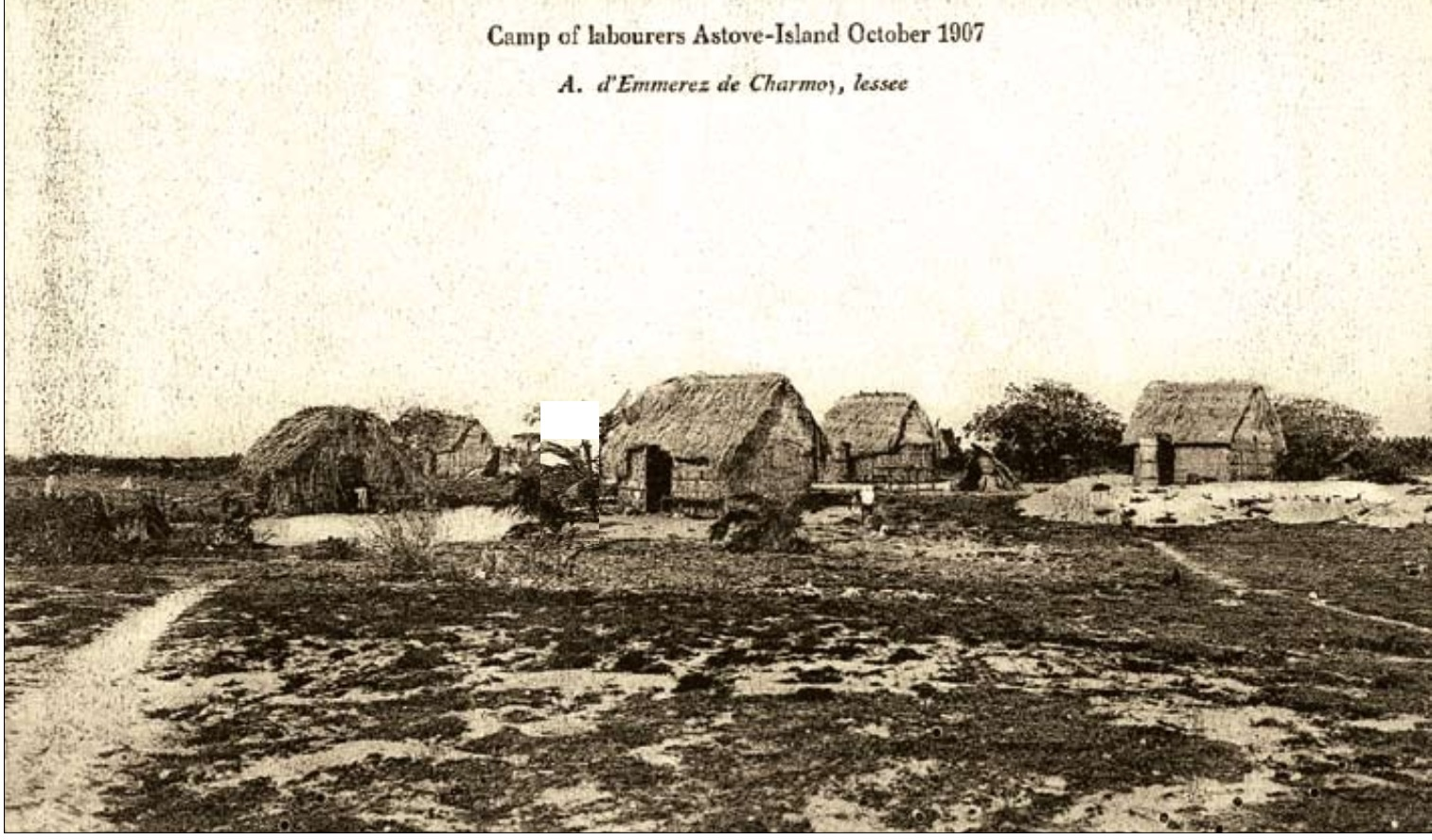 Laborer camp on Astove Island, October 1907
