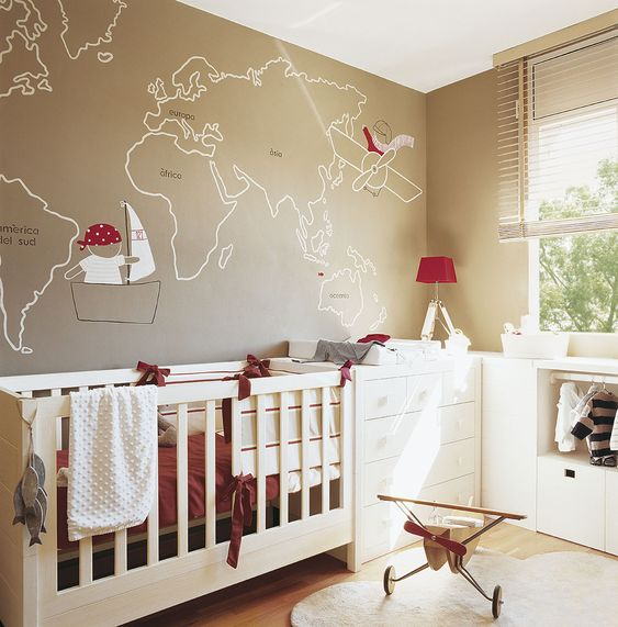 world map outline o a wall