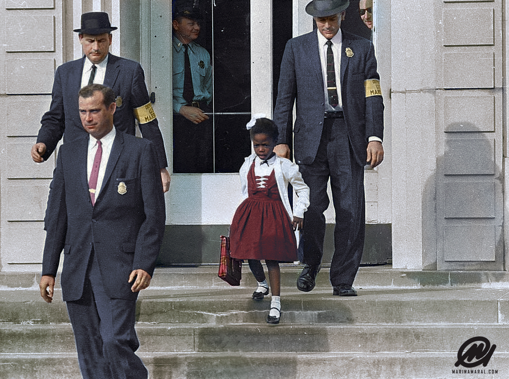 Ruby Bridges, escorted by U.S. Marshals to attend an all-white school, 1960