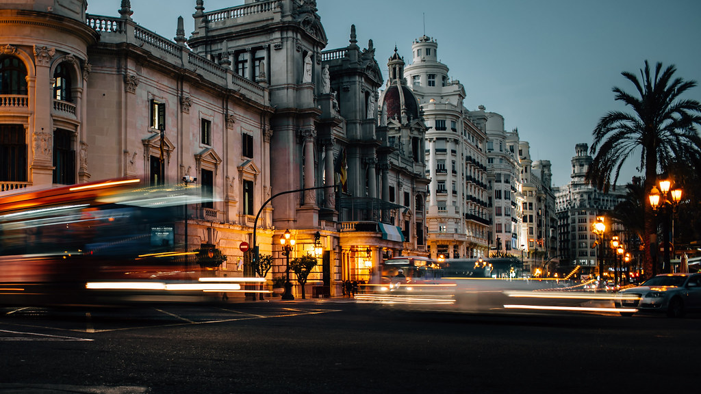 Evening street view and traffic in Valencia, Spain