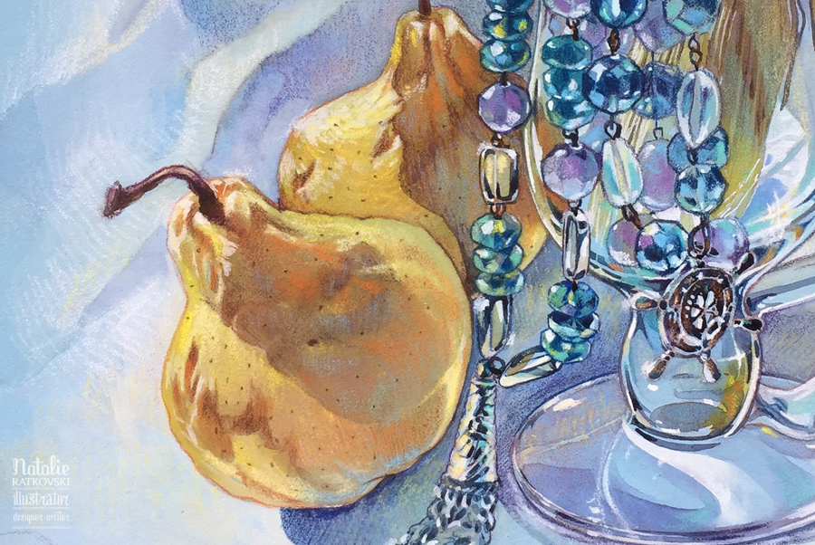 Still life with beads & pears
