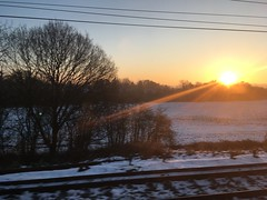 Snowy sunrise from the train
