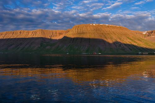 isafjordur nordvesturkjordaemi iceland westfjords fjord sunset water sea icelandic