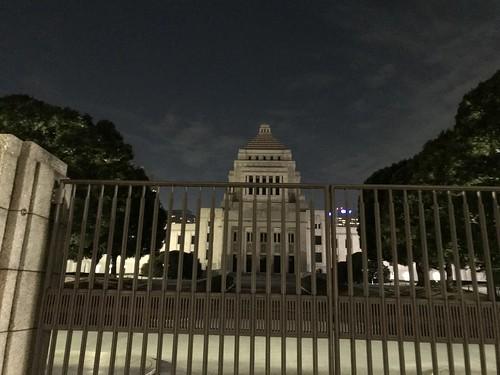 国会議事堂。警備員がうじゃうじゃいた