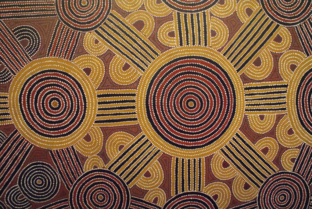 Carte cosmique aborigène au musée des Confluences à Lyon.