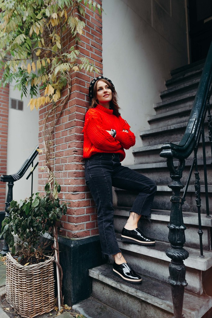 The Little Magpie Amsterdam Zalando Mango Red knitted jumper
