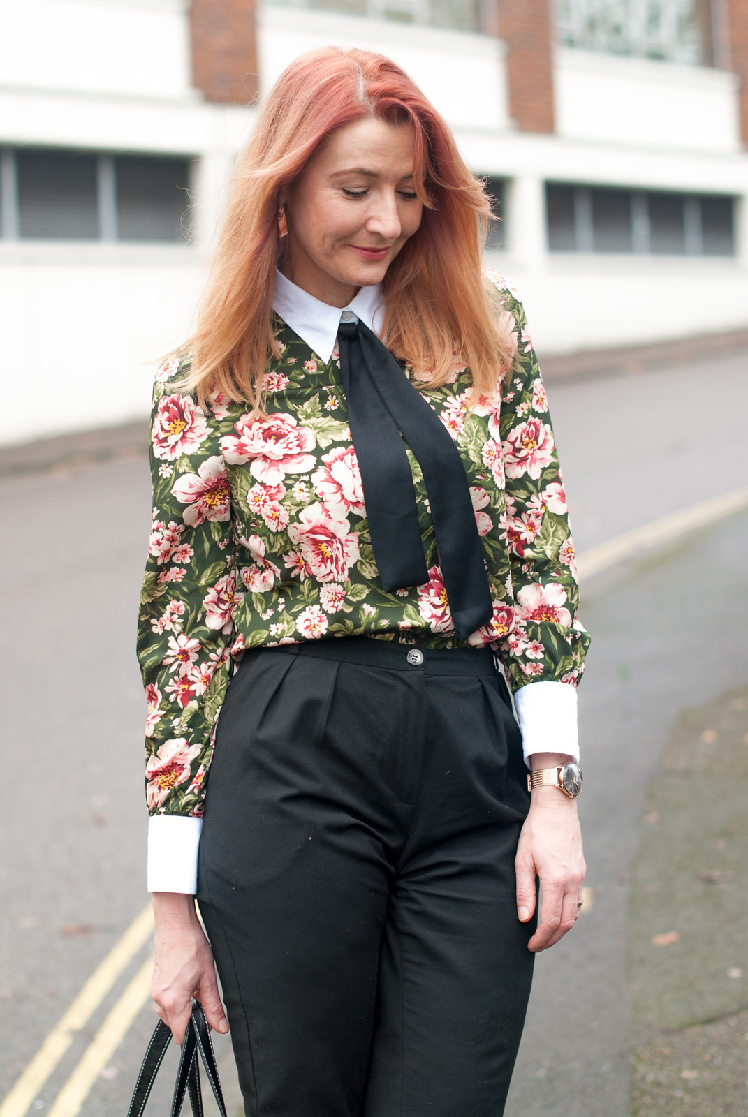 A masculine/feminine floral blouse with contrasting cuffs and black neck tie with black peg leg tapered trousers pants Finery two tone suede and leopard ankle boots multi-coloured striped Mango shopper bag | Not Dressed As Lamb, over 40 fashion