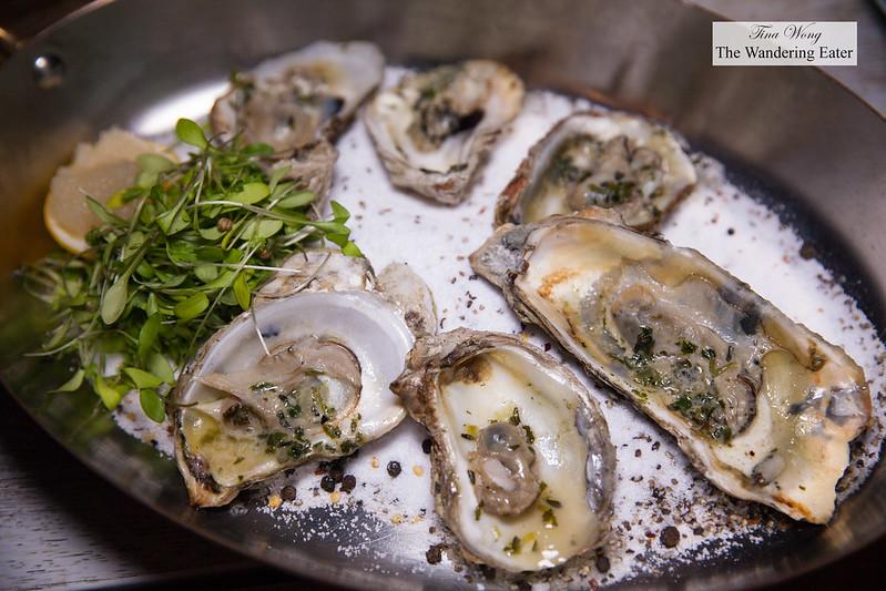 Atlantic Grilled Oysters, Lemon Scallion, Celery Leaves