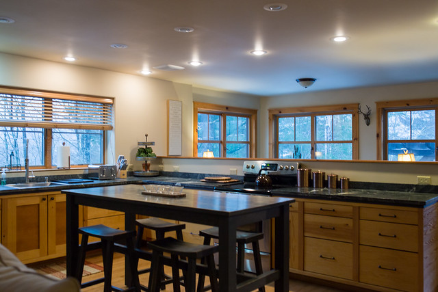 Kitchen with marble counter tops and open floor plan...great for entertaining