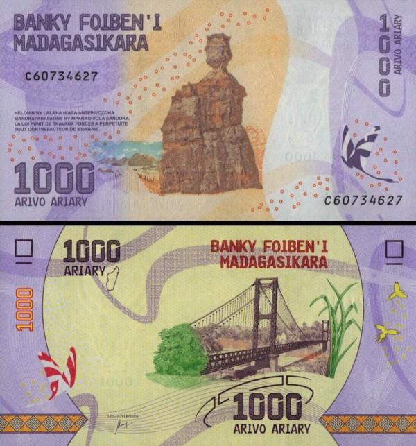 1000 Ariary Madagaskar 2017, P100