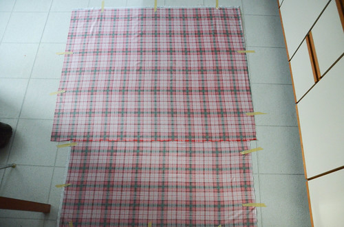 """Quilt Sandwich - Tape backing to floor, wrong side up. """"Parachute"""" to ensure no wrinkles."""