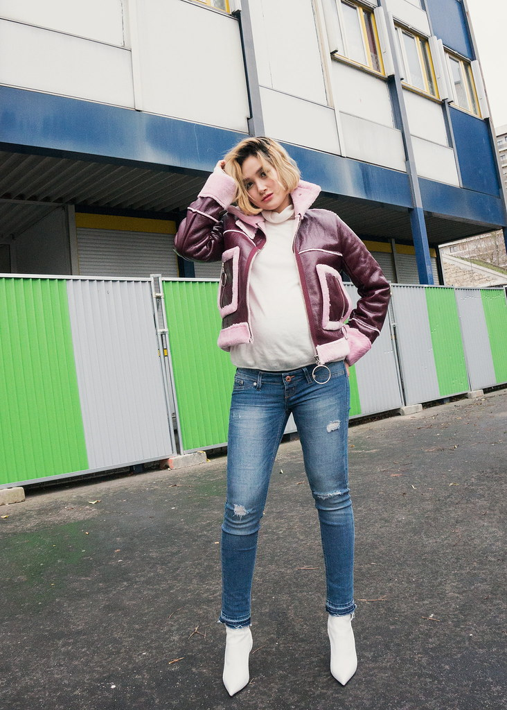 boohoo pink coat