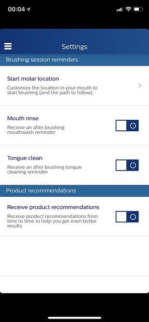 Philips Sonicare iOS App - Settings