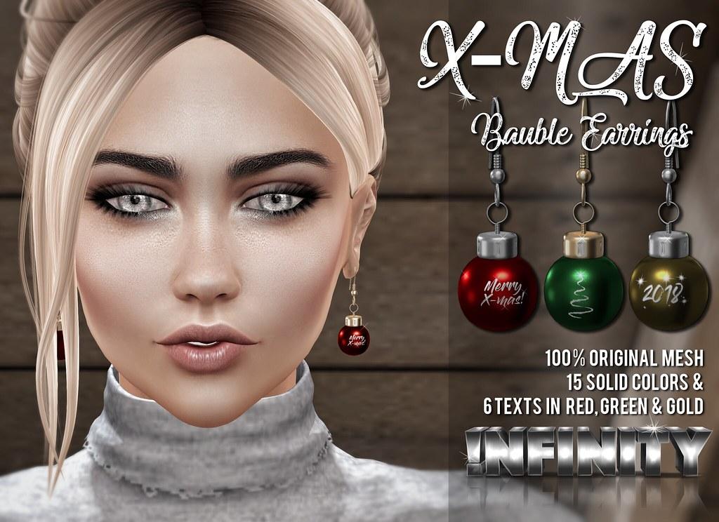 !NFINITY X-mas Bauble Earrings - GROUP GIFT ! - TeleportHub.com Live!