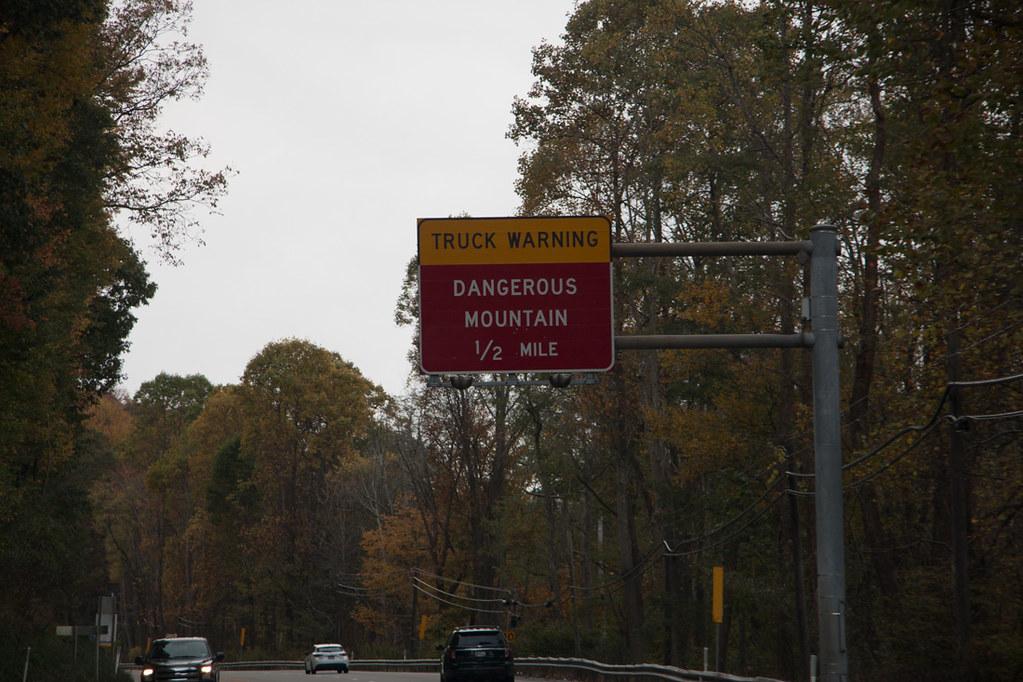 Dangerous Mountain sign in Laurel Highlands