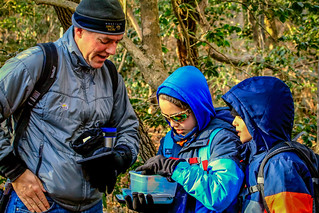 Geocaching Dad with kids family at First Landing State Park | by vastateparksstaff