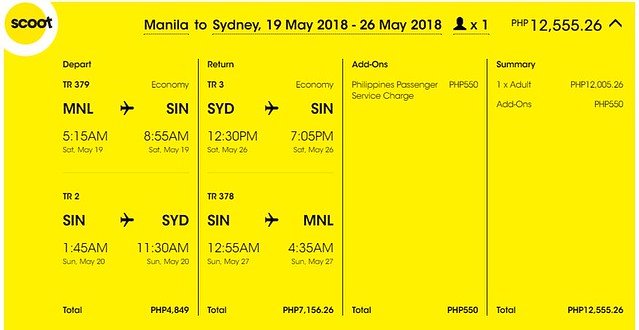 Manila to Sydney Roundtrip Scoot Promo May 26, 2018