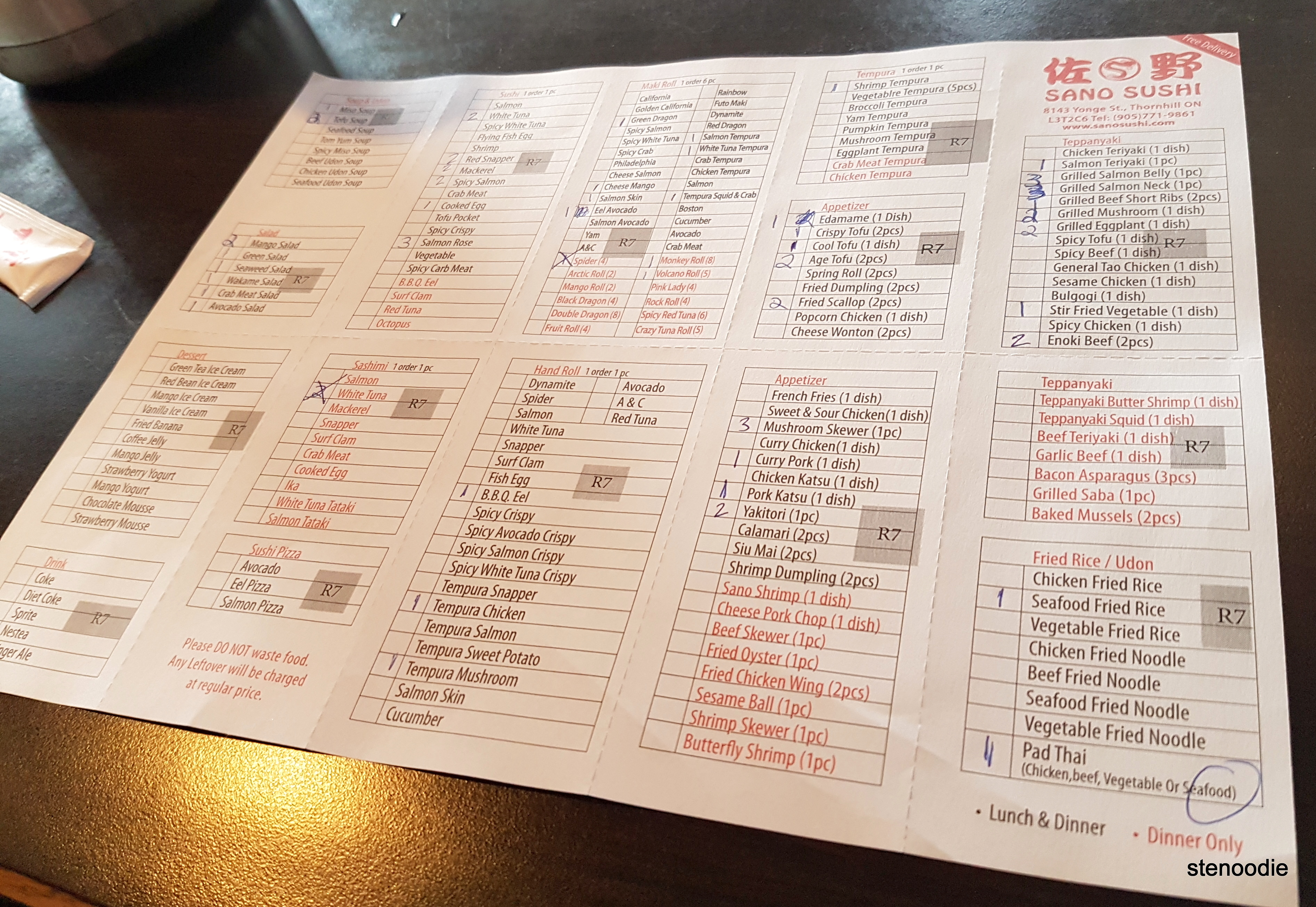 Sano Sushi all-you-can-eat lunch and dinner ordering sheet