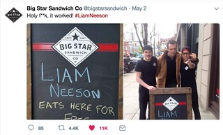 Liam Neeson Eats Here for Free