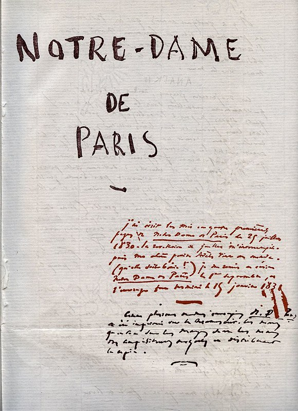 """First page of the manuscript of """"The Hunchback of Notre-Dame"""" of Victor Hugo"""