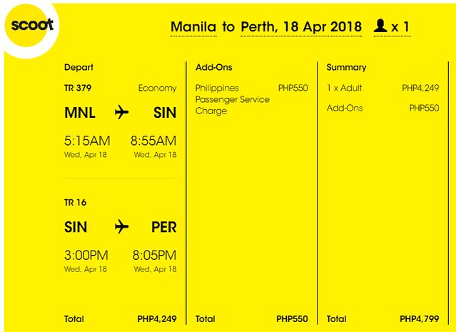 Manila to Perth Scoot Promo April 18, 2018