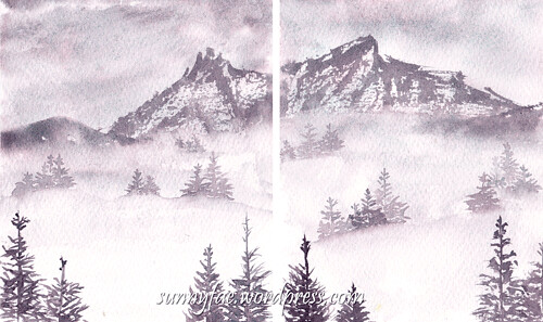misty mountain fir trees together