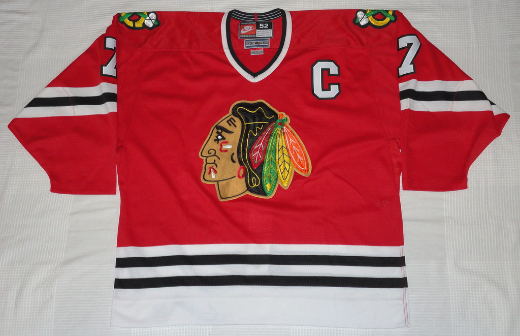 1996-97 Chris Chelios Chicago Blackhawks Away Jersey Front