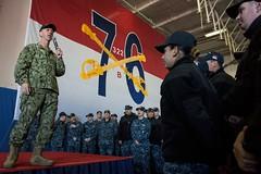 Adm. John Richardson talks to Sailors during an all-hands call aboard USS Ronald Reagan (CVN 76), Dec. 19. (U.S. Navy/MC2 Kenneth Abbate)