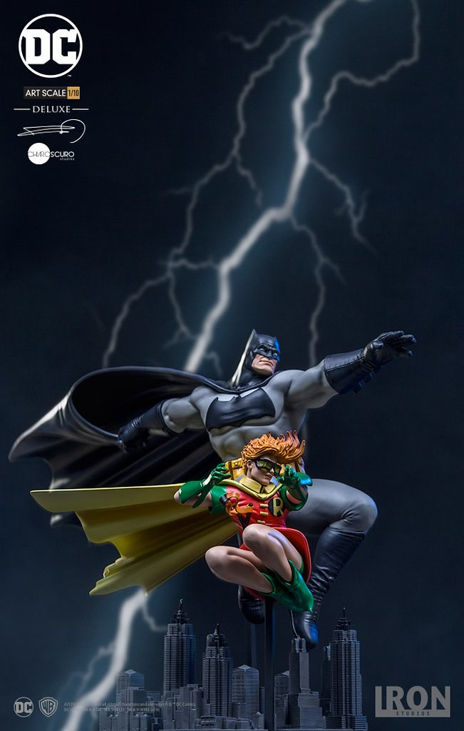超經典漫畫立體化!!Iron Studios《蝙蝠俠:黑暗騎士歸來》蝙蝠俠&羅賓 豪華版 The Dark Knight Returns Batman & Robin 1/10 比例全身雕像作品