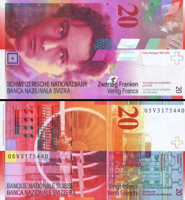 20 Frankov Švajčiarsko 2005, P69d